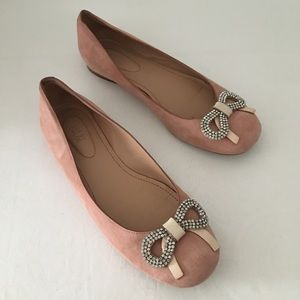 See by Chloe rhinestone bow pink leather flats